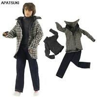 1/6 Boy Doll Clothes For Ken Doll Winter Wear Plaid Coat Shirt Trousers Pants