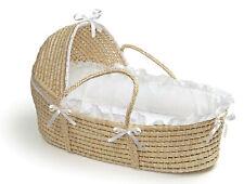Badger Basket Natural Hooded Moses Basket - White Bedding