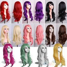 FR_ EG_femmes dames LONG Perruque de Cheveux Bouclé Ondulé Synthétique