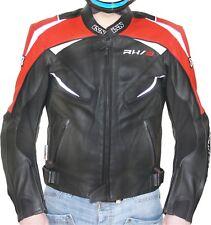 IXS RX 3 Negro Rojo Chaqueta de cuero para hombre Moto Sport y turismo tamaño 52