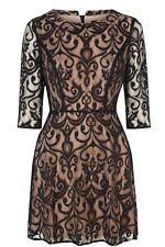 OASIS Nude & Black Lace Elbow Sleeve Peterpan Collar Party Dress Size 12-14 EU40