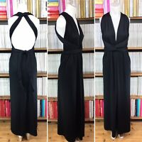 Vintage 1970s grecian draped dress multi-way maxi plunge UK 8 10 12 14 US 4 6 8