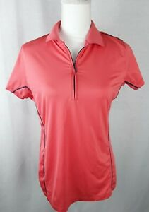 Peter Millar Women's Size-Large 1/4 Zip Short Sleeve Mesh Sides Polo Golf Shirt