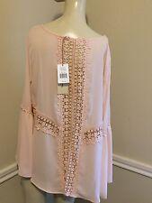 NWT! Women's Sz: M Crochet Back Blush Top By Elan       #5
