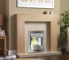 ELECTRIC OAK WOOD SURROUND SILVER & CREAM FLAT WALL MOUNTED FIRE FIREPLACE SUITE