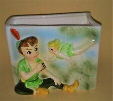 Enesco Tinkerbell & Peter Pan vintage Disney ceramic book planter Japan 1960's