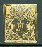 Germany 1856 Hannover 1/10 Thaler Black & Orange Large Mesh SG # 17 VFU  F969