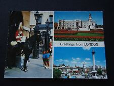 GREETINGS FROM LONDON BUCKINHAM PALACE MOUNTED SENTRY TRAFALGAR SQUARE POSTCARD