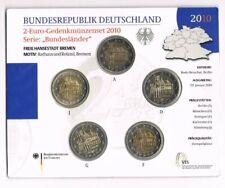 GERMANY DUITSLAND 2 EURO COINS 2010  (5X) SET RATHAUS BREMEN  A T/M J