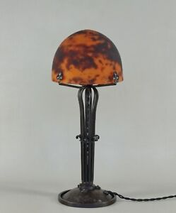 DAUM : LARGE FRENCH 1925 ART DECO LAMP ................ wrought iron 1930 France