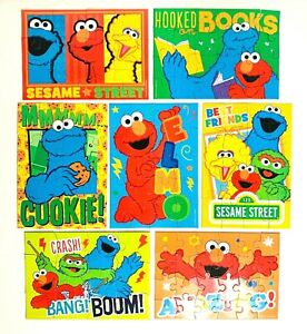 7 x Sesame Street Elmo's World Jigsaw Puzzles - ALL COMPLETE - AS NEW FREE POST