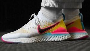 Nike Epic React Flyknit 2 Running Shoes White/Pink Blast/Citron Men's 11.5 $150