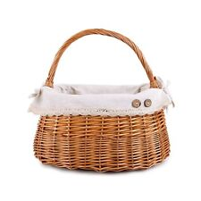 Oval High Handle Wicker Shopping Baskets  Gift Hamper with Fabric