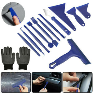 13x/Sets Car Window Film Tint Tools Kit Blue Gloves Vinyl Wrap Squeegee Scraper