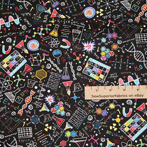 Science Chemistry Biology Physics Math Cotton Fabric 1/2 Yard #C8249