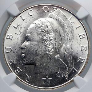 1962 LIBERIAN SILVER LIBERIA African Woman Vintage Silver Dollar Coin NGC i89272