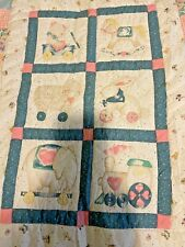 Handmade Quilted Baby Quilt Pastels Hearts,Toys on Wheels Patchwork