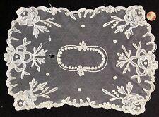 Vintage tambour chainstitch embroidered centerpiece