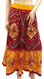 Hand Made Unique Indian Yellow & Red Sequin Embroidery Boho Maxi Tall Skirt 6-12