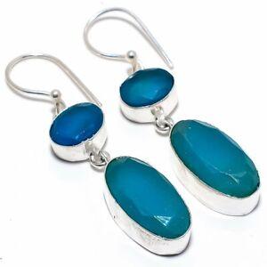 """Blue Sapphire Gemstone 925 Sterling Silver Jewelry Earring 2.2"""""""