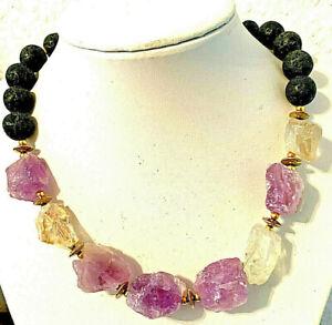 Edelstein-Halskette aus CITRIN + AMETHYST Roh-Steine in Form von Nuggets 1