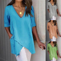 Women Summer Casual Half Sleeve T Shirt V-Neck Tops Solid Blouse Loose Tunic