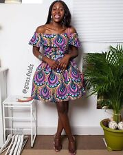Z GRASS FIELDS AFRICAN ETHNIC WAX PRINT FLORAL OFF SHOULDER DRESS S SMALL 8 4 36
