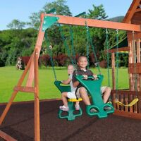 2 Child Glide Swing Seat on Chain Playground Set Back to Back inc Hardware