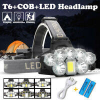 120000LM T6 8x LED Headlamp Rechargeable Head Light Flashlight 18650 Torch Lamp