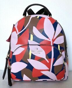 New Kate Spade Jackson Tropical Toss Medium Backpack Leather Pink multi