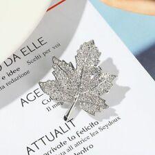 New listing Silver Fashion Style Leaf Woman Brooch Pin Clear Rhinestone Jewelry