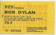 RARE / TICKET BILLET DE CONCERT - BOB DYLAN : LIVE A PARIS ( FRANCE ) 1978