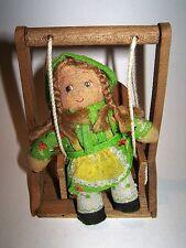 HOLLY HOBBIE ko DONDOLINE 70s Ceppiratti italy doll in swing - bambola altalena