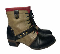 Womens L'Artiste by Spring Step Black Brown Red Leather Lace Up Boots Sz 38 7.5
