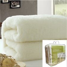 Luxury QUEEN Sz Plush Wool Underlay * 100% Cotton Cover Fitted 40cm , Reversible