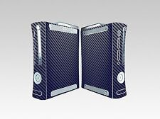 Blue Carbon Fiber Vinyl Skin Sticker Xbox360 Console and 2 controller skins
