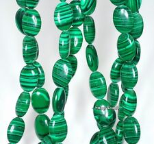 HEDGE MAZES MALACHITE GEMSTONE GREEN OVAL 14X10MM LOOSE BEADS 7""
