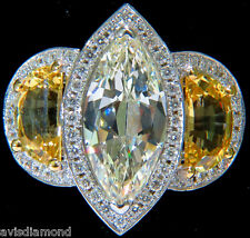 GIA CERTIFIED 18KT 7.82CT MARQUISE DIAMOND SAPPHIRE RING NO HEAT UNHEATED