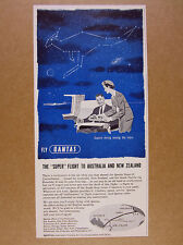 1957 Qantas Super-G Constellation Flights globe map stars art vintage print Ad