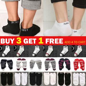 Novelty Cotton Men Sport Letter Funny Ankle Socks Printed Women Skateboard Socks