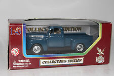 YATMING ROAD LEGENDS DIECAST 1948 FORD F-1 PICKUP, BLUE, 1:43 SCALE