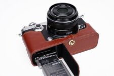 Genuine Real Leather Half Camera Case Bag Cover for Olympus PEN-F PEN F Open