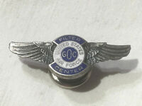 US AIR FORCE FILTER CENTER STERLING SILVER ENAMEL WINGS BADGE PIN