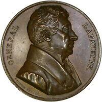 1824 LAFAYETTE AMERICAN & FRENCH LIBERTY 46MM BRONZE ~ NEARLY MINT STATE!
