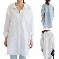 XXL Women Cotton Linen Long Sleeve T-Shirt Button Down Loose Casual Tops Blouse