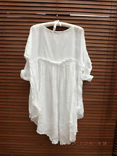 COTTON DRESS WHITE PEARL VOILE QUIRKY LAGENLOOK BOHO CHIC RITANOTIARA ONE SIZE