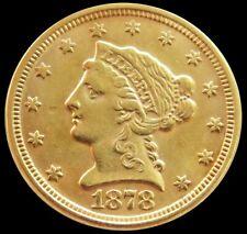 1878 P GOLD US $2.5 DOLLAR LIBERTY HEAD QUARTER EAGLE COIN AU