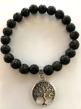 UK Lava Stone Silver Tree of Life Crystal Gemstone Bead Bracelet Essential oil