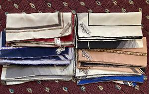 Lot x6 Vitaliano Pancaldi Handrolled Silk Pocket Squares