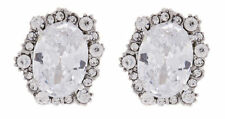 Silver Plated Oval Stone Costume Earrings